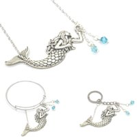 Wholesale seaside bracelets resale online - 12pcs Mermaid Charm Necklace Ocean Jewellery Silver Mermaid Collar Seaside Necklace bracelet keyring