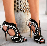 c91c5e05494 Rome Style Lace-Up Women Pumps Peep Toe Cut-Outs High Heels Women Shoes Sexy  Stiletto Heels Women Gladiator Sandals