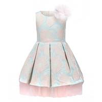 ingrosso tulle di alta qualità-Tween Girls Floral Dobby Pink Abiti formali per bambini Light Blue Jacquard Flower Decoration Pretty Wedding Girl Vestiti di alta qualità