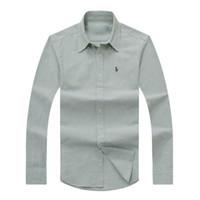 Wholesale italy fashion dresses - brand new men's designer polo shirt 2018 Italy long sleeved casual usa brand fashion cotton polo Oxford social shirt M-XXL