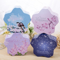 Wholesale Bride Wedding Tin Box - Sweet Happiness Cherry Flower Shape Bride Wedding Candy Box Iron Tin Case Chocolate Storage Marriage Gift Favor Box