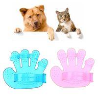 Wholesale Finger Rake - palm-shaped pet bath massage brush five-finger dog bath brush puppy house cat items 2 colors DDA444