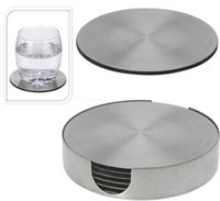 Wholesale stainless steel coasters - Enipate Set of 6 Round Stainless Steel Coaster Coasters with Holder Metal Insulation Pad Protecting Table