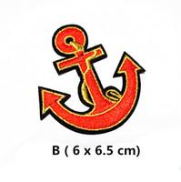 ancre de fer rouge achat en gros de-En gros 10 pièces Red Anchor (6 x 6,5 cm) brodé fer à repasser sur Cool Patch (AL) sur mesure