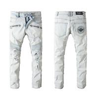 schwarze kleidung für männer großhandel-Balmain Pants Clothing Designer Slp Blau Schwarz Destroyed Mens Slim Denim Gerade Biker Skinny Jeans Männer Zerrissene Jeans