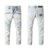 Wholesale clothes skinny men for sale - Balmain Pants Clothing Designer Slp Blue Black Destroyed Mens Slim Denim Straight Biker Skinny jeans Men Ripped Jeans