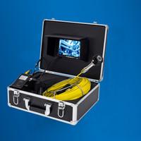 12 inç led ışıkları toptan satış-Su geçirmez 12 Adet LED Işıkları 20 M Fiberglas Kablo Sualtı Kanalizasyon Boru Muayene Kamera Sistemi Ile 7 Inç Monitör