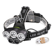 Wholesale Emergency Headlights - 5*XM-L T6 LED Headlamp 15000 lumens USB Rechargeable Headlight for Camping Hiking Fishing Outdoor Emergency Light With 2*18650