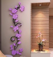 Wholesale Wholesale Acrylic Flower Vase - 3D Vase Flower Tree DIY Removable Art Vinyl Wall Stickers Decal Mural Home Decor For Home Bedroom Decoration MYY