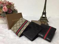 Wholesale European High Fashion - 2018 High quality leather wallets Women's men pocket wallet Fashion designer purses Metal zipper European-style purse with box