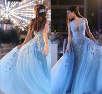 zuhair murad azul rojo vestido al por mayor-Bingbing en Zuhair Murad Alfombra roja Vestidos de noche desmontables 2018 Cuello transparente de lujo Joya Apliques de encaje azul Perlas de baile Vestidos de famosos