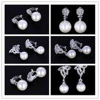 Wholesale Black Crystal Clip Earrings - Wholesales 27 Styles Clip Cuff&Studs Rhinestone Dipper Hook Earrings Crystal Gemstone Earring for Women Girls Ladies
