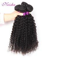 brasileña virgen afro rizado al por mayor-Neisha Brazilian Virgin Hair Afro Kinky rizado 100% sin vello Extensión del cabello humano Natural Negro 1B Color