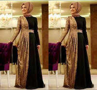 Wholesale plus size prom dresses online - Hot Online Gold Sequin Muslim Evening Dresses Long Sleeves Turkish Prom Dress Islamic Clothing Formal Wear