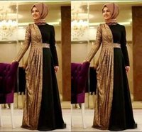 Wholesale size 16 clothing for sale - Hot Online Gold Sequin Muslim Evening Dresses Long Sleeves Turkish Prom Dress Islamic Clothing Formal Wear