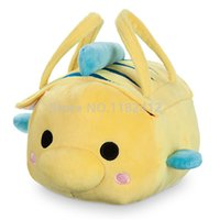 Wholesale tsum plush - Cute Tsum Tsum Plush Carrier Bag Princess Little Mermaid Flounder Fish Stuffed Animals Kids Toys for Children Gifts