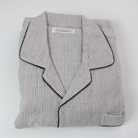 мужские рубашки оптовых-2018 Autumn Men's Casual Striped Pajama sets Men Turn-down collar shirt & pants Male 100% Coon Double Yarn sleepwear suit