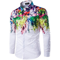 Wholesale Long Slim Polo Design - Designer polo shirt New men's fashion personality 3D printing ink design casual Street long sleeved shirt