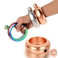 Wholesale multi ring bracelet - 3.5oz Bangle Bracelet Hip Flask 304 Stainless Steel Whiskey Drinkware Bracelet Rings Set With Funnel Silver Rainbow Bronzer 6 Colors HH7-68