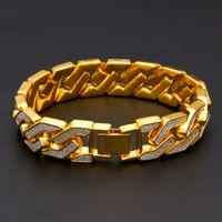 блестящая манжета оптовых-Curb Cuban Bracelet For Men Gold Silver Hip Hop Rhinestones CZ Rapper Bracelet Jewelry Punk Geometric Glitter Cuff Bangle Chain