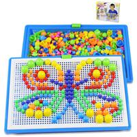 ingrosso chiodi di mosaico-296 grani giocattoli per bambini creativo colorato mosaico di funghi chiodo ding bambini apprendimento giocattolo perline inserto puzzle giocattoli educativi per i bambini b