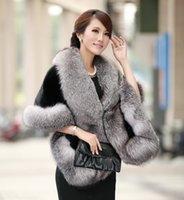 Wholesale Faux Fur Coats Capes - New fashion women's fashion luxury faux fox fur warm batwing sleeve asymmetric fur cape coat thickening casacos