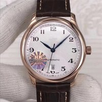 Wholesale movement miyota - Top MASTER COLLECTION luxury mens watches brown leather brand wristwatch Sport MIYOTA 2892 Movement Bottom Cover