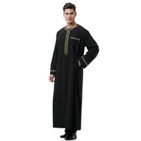 Wholesale islamic s - New Muslim Men Robes S-3XL Plus Size Islamic Men Round Neck Long Sleeve Embroidery Thobe Kaftan