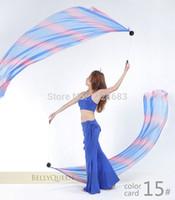 mujer sexy bailando velos al por mayor-Disfraz de danza del vientre indio sexy para mujer Accesorios para mujer Velo de degradado Poi Cadena Bellydance Wear 1 Veils + 1 Poi