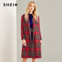 9e9f12b3ef SHEIN Multicolor Double Breasted Waterfall Plaid Longline Coat Elegant  Pocket Knee Length Outerwear Women Autumn Trench Coats D1892904