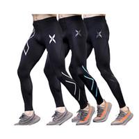ingrosso pantaloni lunghi di forma fisica-Men gym Bodybuilding Compression Pantaloni lunghi attillati Pantaloni neri Emoji Joggers Emoji Mallas Hombre Fitness pantaloni da corsa 2xu
