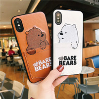 Wholesale soft leather gag - luxury Pu Leather Cartoon Bear Phone Case for IPhone 7 6s 8 8plus x 6splus Soft Tpu Cover With Card Pocket Gags Fundas