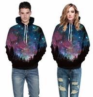 más el tamaño de galaxy imprimir tops al por mayor-Ventas calientes Galaxy Space Print amantes azules sudaderas con capucha Pull Over 3D tallas grandes sudaderas sueltas Tops para mujeres tallas grandes