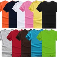 Wholesale Red Gram - Men's T-shirt round neck short sleeve Lycra Cotton 200 grams spring and summer solid color loose youth shirt Free shipping