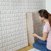 duvar kağıdı tuğla desen toptan satış-Diy 3D Duvar Tuğla Desen Duvar Çıkartmaları Ev Dekor Oturma Odası Yatak Odası Dekorasyon PVC Kendinden Yapışkanlı Duvar Kağıdı Sanat Çıkartmaları