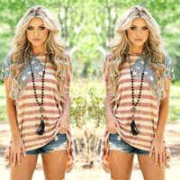 bayrak bayrakları toptan satış-Artı Boyutu Kadınlar Amerikan Bayrağı Asimetrik T-Shirt O Boyun Çizgili Kısa Kollu Yaz 2017 Moda Casual Kadın Tees Tops