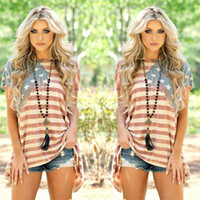 Wholesale Panel Flag - Plus Size Women American Flag Asymmetric T-Shirt O Neck Striped Short Sleeve Summer 2017 Tops Fashionable Casual Female Tees