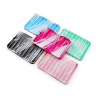 ingrosso piastra di scarico-Portasapone flessibile in silicone 5 colori Portasapone Accessori bagno Piatto vassoio Scolapiatti Utensili da bagno creativi