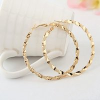 Wholesale twisted hoop earrings - whole saleFashion Excellent Big Jewelry Trendy Metal Twist Circle Shape Printing Gold Silver Hoop Earrings for Women Party Accessories