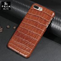 cuir véritable iphone achat en gros de-Cas de haute qualité en cuir véritable pour Couqe Iphone 7 7 Plus téléphone portable cas de luxe 3d modèle de peau de crocodile Couverture arrière 7p 8p 8