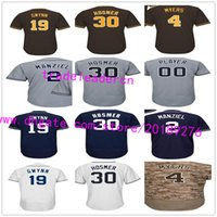 Wholesale Green Road - San Diego 30 Eric Hosmer Johnny Manziel 19 Tony Gwynn Wil Meyers Men Womens Youth White Home Away Gray Road Navy Alternate Baseball Jerseys