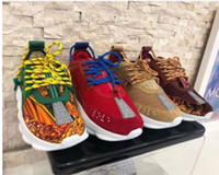 ingrosso dimensioni della catena-2018 nuove scarpe di design sneaker Chain Reaction di alta qualità braille lettering in pelle di vitello sneakers di lusso scarpe casual di design taglia 35-46