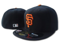 Wholesale Field Brown - Wholesale On Field Men's Giants fitted hat flat Brim embroiered SF letter team logo fans baseball Hat top quality giants full closed Chapeu