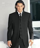 gradas por encargo al por mayor-Nuevo Custom Made Black Stand Collar Novio Tuxedos Groomsman Blazer Hombres Conjuntos de trajes de negocios de boda (Chaqueta + Pantalones + Corbata + Chaleco) 319