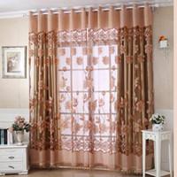 cortinas florais para sala de estar venda por atacado-Luxo Com Buraco Dangle Grânulos de Cortina Da Janela Da Cortina Da Sala Floral cortinas para sala de estar