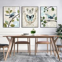 ingrosso stampa delle farfalle-Stampe d'arte moderna A4 Nordic Minimalist Pictures Farfalla Bird On Branch Hanging Poster Decor Living Room Wall Canvas Paintings