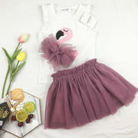 d25eee5cd2e Girl Summer Clothing Sets Flamingo Kids Clothing 2018 Summer Sleeveless  Cotton Top + Lace Tutu Skirt korean Children Outfits 2 pcs Sets