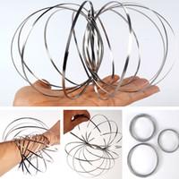 Wholesale rainbow rubber bracelets - Novely Decompression Magic Bracelet Toroflux Flow Ring Moving Ring Flow Rainbow Toys Flow Bracelet XMAS Gifts HH7-825