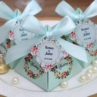 rosa pyramide geschenk-boxen großhandel-50 PC geben Verschiffen-Rosa / Purpur / Tiffany-blaue Blumenpyramide-Hochzeits-Bevorzugungs-Süßigkeits-Kasten-Brautparty-Partei-Papiergeschenk-Kasten frei