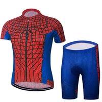 usar pantalones rojos al por mayor-Nuevo 2018 Roupa Ciclismo Spiderman Red Cycling Jersey conjunto manga corta ciclismo jersey con babero acolchado pantalones ultra transpirable Bike Wear